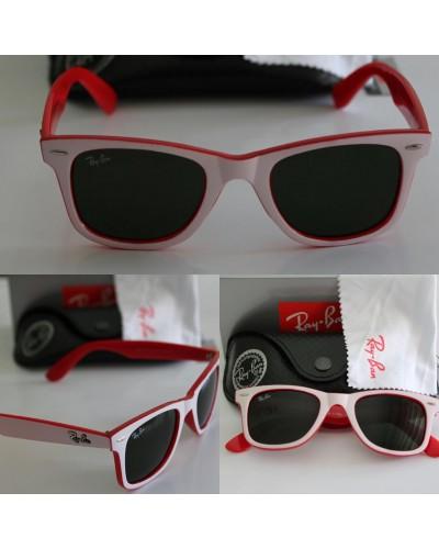 Rayban 2140 Wayfarer Beyaz Kırmızı Unisex Güneş Gözlüğü Organik Cam